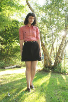 red gingham vintage shirt - dark brown corduroy thrifted skirt