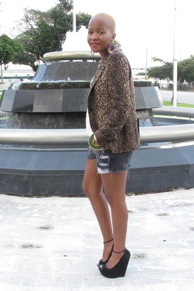 Bakers wedges - leopard print Zara blazer - Levis shorts - Zara blouse