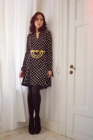 black polka-dot LaDress dress - gold vintage belt