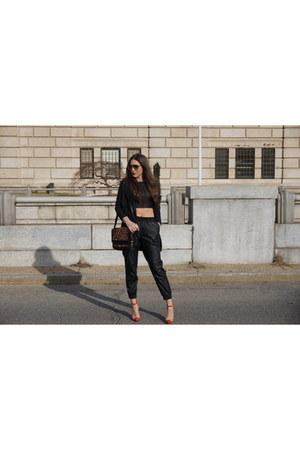 crop top bardot top - haute hippie blazer - Christian Louboutin bag