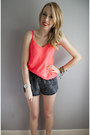 Grey-denim-american-apparel-shorts-river-island-bracelet-coral-talula-top