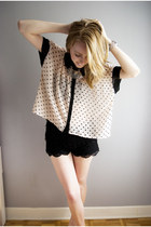 polka dot sheer Forever 21 top - black crochet Urban Outfitters shorts
