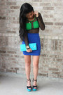 Sheer-bodysuit-heel-less-shoes-purse-bodycon-skirt-ring