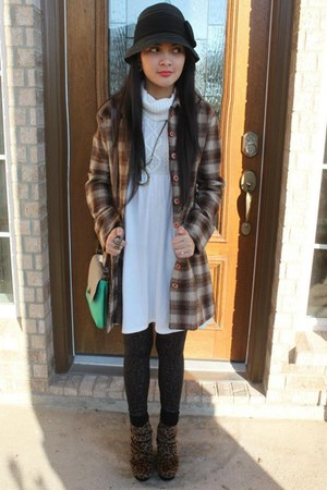 checkered coat - brown shoes - ivory Old Navy dress - black woven hat