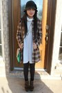 Brown-shoes-ivory-old-navy-dress-checkered-coat-black-woven-hat