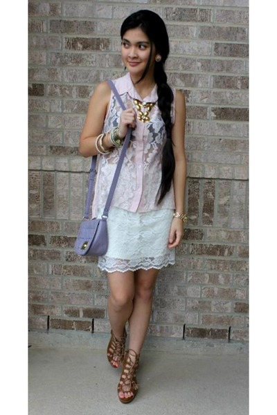 light purple sling studded Forever 21 purse - white lace Weaver skirt