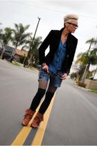 blue G-Star jeans - blue BB Dakota blouse - brown Japan tights - black volcom so