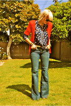 navy H&M jeans - ruby red UO sweater - navy thrifted shirt - burnt orange f21 he