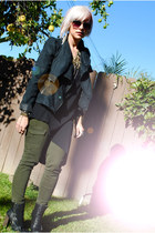 black Topshop boots - black diy thrifted dress - black Target jacket - army gree