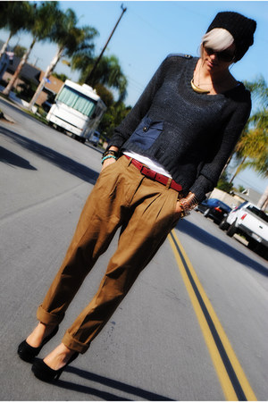 charcoal gray fashion young sweater - brown Spain pants - black ny vendor heels