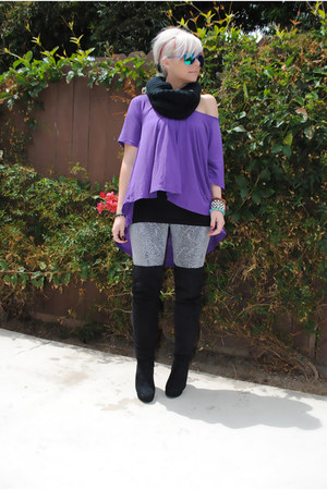 purple f21 shirt - black Charlotte Russe boots - silver f21 leggings