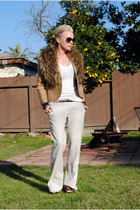 white f21 shirt - brown thrifted blazer - white f21 pants - brown H&M scarf