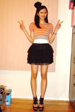 forever 21 top - Express shirt - forever 21 skirt - Steve Madden shoes