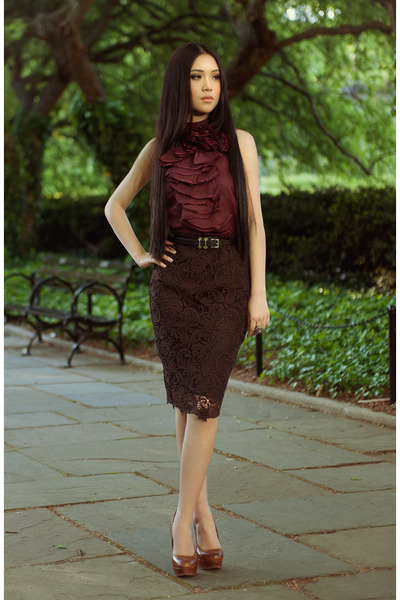 magenta Bebe top - black leather Ralph Lauren belt - dark brown lace Zara skirt