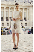 white H&M dress - vintage purse - black Aldo heels