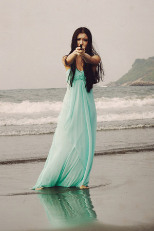 aquamarine chiffon LM collection dress
