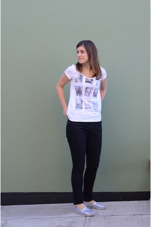 black Primark jeans - white H&M t-shirt - silver TOMS sneakers