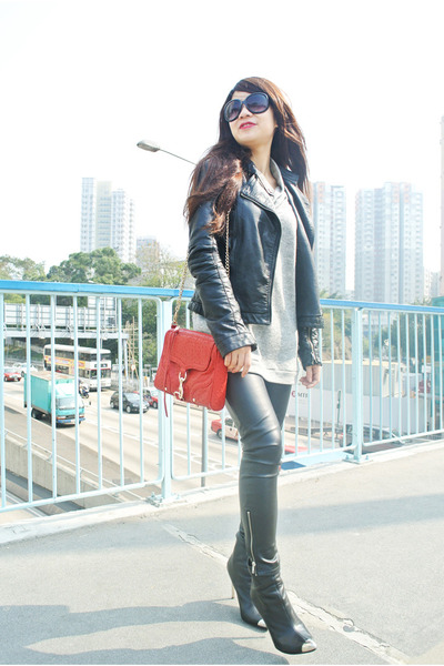 black leather Zara jacket - black Zara boots - red Rebecca Minkoff bag