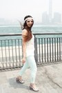 White-lace-zara-top-aquamarine-zara-pants
