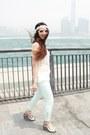 White-lace-zara-top-aquamarine-zara-pants