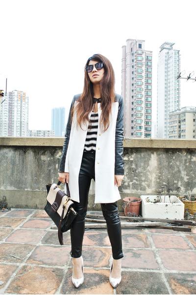 Zara coat - H&M sweater - leather H&M pants