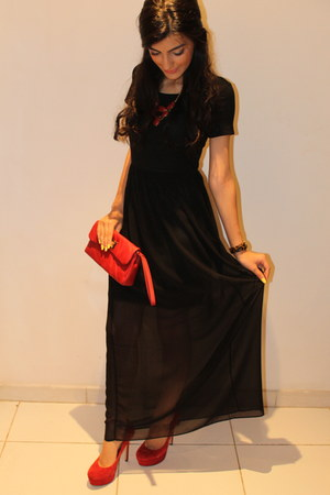 black sheer maxi Forever 21 dress - brick red leather Charles & Keith bag