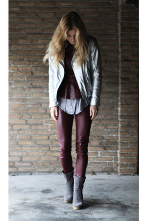 silver silver Zara jacket - crimson H&M top - crimson fake leather H&M pants
