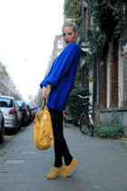 blue blue knitted H&M jumper - mustard yellow suede River Island shoes