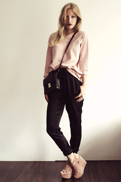 light pink acne sweater - black H&M bag - black Zara pants