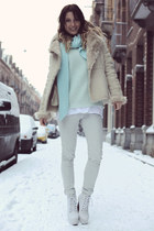 white knitted H&M top - off white Zara jeans - aquamarine lime green H&M sweater