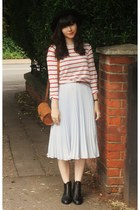 black Topshop boots - striped top - light blue pleated midi skirt