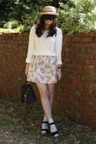 white jumper - floral dress