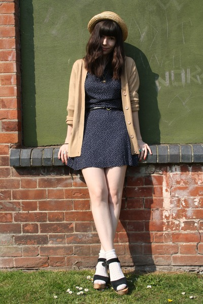 navy vintage dress - camel cardigan
