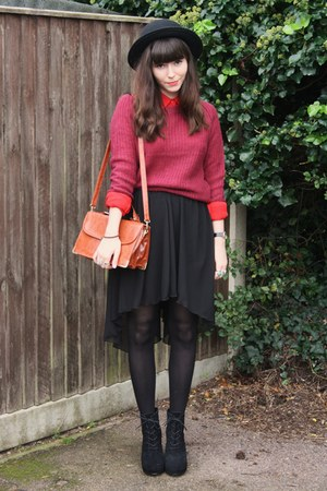 black skirt - crimson sweater - red shirt - black wedges