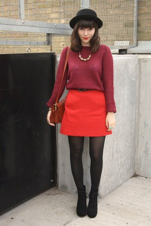 red skirt - crimson asos sweater - black wedges