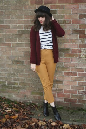 mustard pants - brick red cardigan