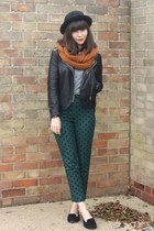 teal polka dot pants - black leather Goldie London jacket - burnt orange scarf