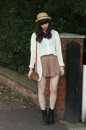 camel frilly shorts - white blouse - ivory holey cardigan