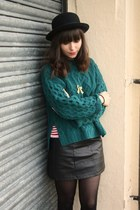 black faux leather skirt - turquoise blue chunky H&M sweater