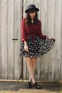 Crimson-sheer-blouse-polka-dot-skirt