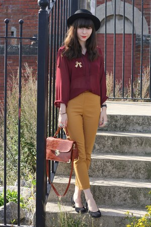 burgundy sheer blouse - gold ankle grazer pants