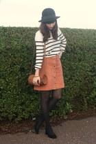 peach suede skirt - breton stripe jumper