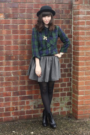 plaid pussybow blouse - tweed-ish skirt