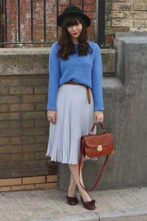 light blue sheer midi skirt - sky blue chunky jumper