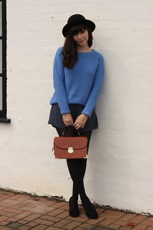 sky blue chunky jumper - polka dot shorts