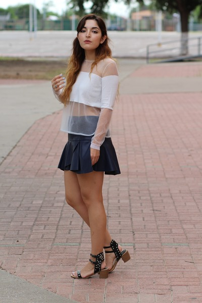 white sheer panel Zara sweater - navy leather Zara skirt