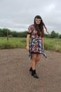 Zara-boots-floral-zara-dress-plaid-vintage-shirt-bauble-bar-ring