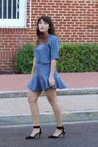 sky blue matching Boohoo top - sky blue matching Boohoo skirt