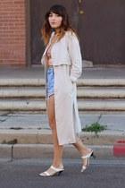 off white trench H&M coat - sky blue diy vintage shorts - light orange Zara top