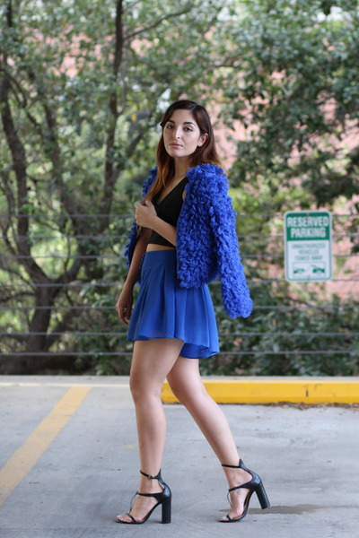 blue furry Princess Polly jacket - blue sheer asos shorts